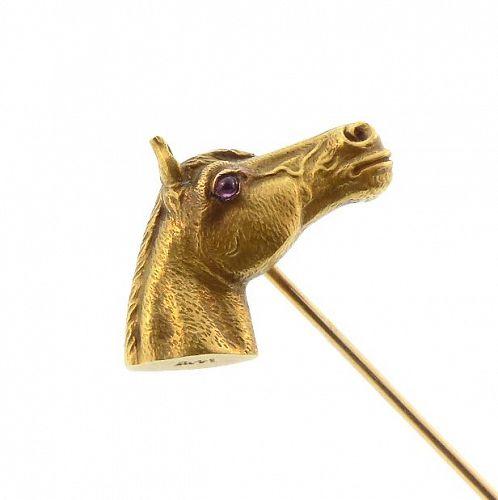 Sloan & Co. 14K Gold & Ruby Horse Head Stickpin