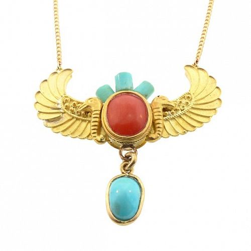 Deco Egyptian Revival 20K Gold, Coral Turquoise Horus Wings Necklace