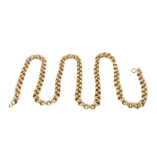 """Victorian 14K Reeded Belcher 22-3/4"""" Gold Chain"""