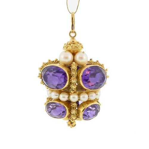 Venetian Etruscan Revival 18K Gold Amethyst & Pearl Fob Charm Pendant