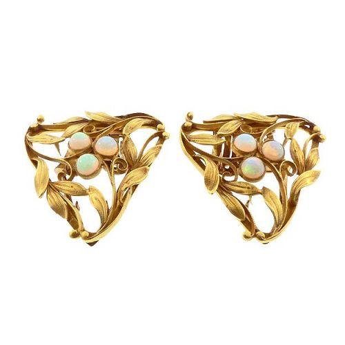 Art Nouveau Opal & 14K Gold Dress / Fur / Shoe Clips
