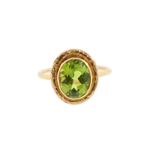 Peridot & 14K Gold Stickpin Conversion Ring