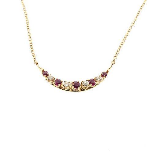 Ruby & Diamond 14K Gold Crescent Pendant Necklace