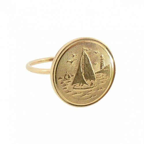 Edwardian 14K Gold Engine-Turned Engraved Sailboat Conversion Ring