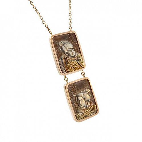 14K Gold & Japanese Mixed Metal Shakudo Pendant Necklace
