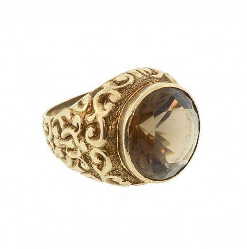 Victorian 14K Gold & Smoky Quartz Gentleman's Ring