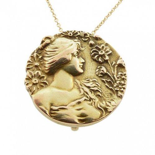 Art Nouveau 10K Gold Daisy Lady Pendant & Watch Pin
