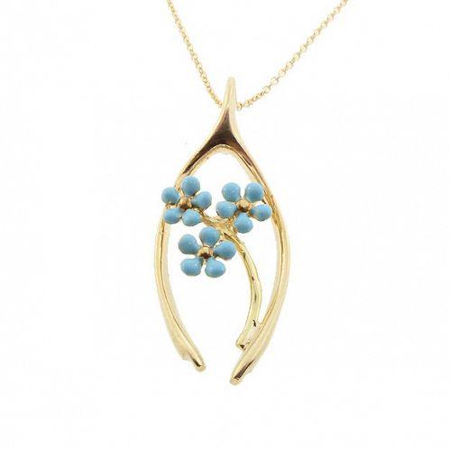 Art Nouveau Enameled Flower & Good Luck Wishbone 14K Gold Pendant