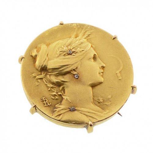 Art Nouveau Louis Rault 18K Gold & Diamond Goddess Demeter Brooch