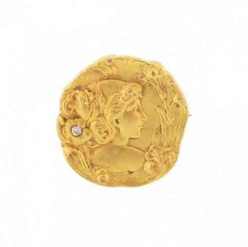 Art Nouveau 14K Gold & Diamond Goddess IRIS Brooch