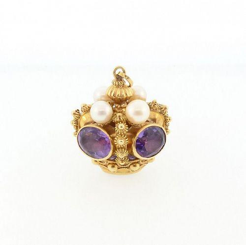Venetian Etruscan 18K Gold, Amethyst & Pearl Crown Fob Charm Pendant