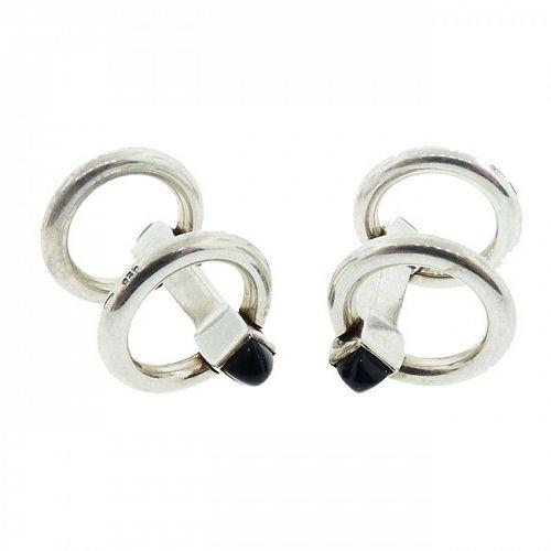 Art Deco Sterling Silver & Onyx Flip-Up Stirrup Cufflinks