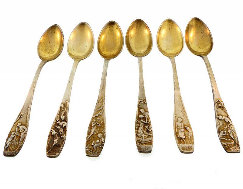 6 Jugendstil Peter Bruckmann & Söhne M�RCHEN Fairy Tale Spoons