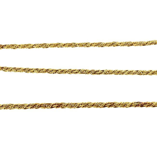 """Vintage 18K Gold Russian Braid 25"""" Chain Necklace"""