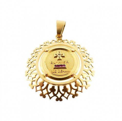 A. Augis French 18K Gold Diamond Ruby PLUS QU�HIER Love Token Pendant