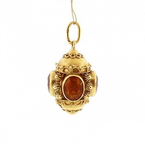 Venetian Etruscan 18K Gold & Citrine Fob Charm Pendant