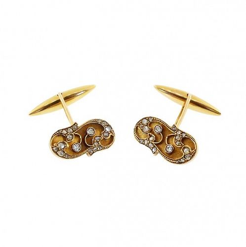 Art Nouveau 18K Gold & Diamond Cufflinks
