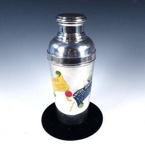 Art Deco Deschamps Freres Enameled Silverplate Recipe Cocktail Shaker
