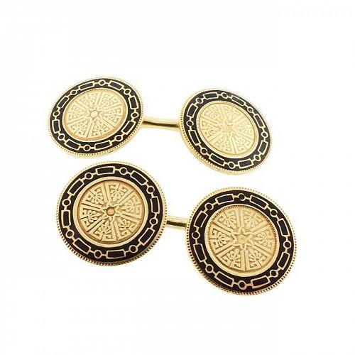 Edwardian 14K Gold & Black Champleve Enamel Cufflinks