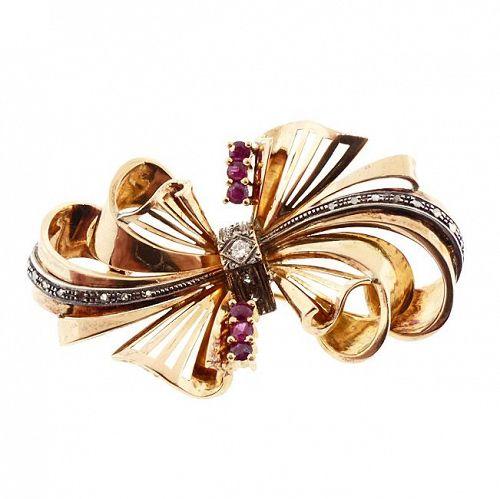 Retro 18K Gold, Diamond & Ruby Bow Pin