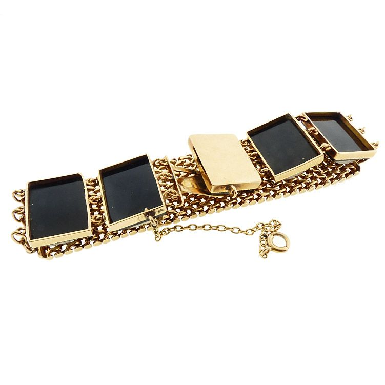 Victorian 14K Gold Mesh Onyx Cameo Youth & Maidens Bracelet