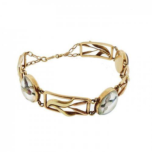 Edwardian 14K Gold Reverse-Carved Essex Crystal Duck Bracelet