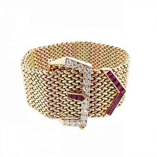 Retro 18K Gold Mesh, Ruby & Diamond Buckle Bracelet