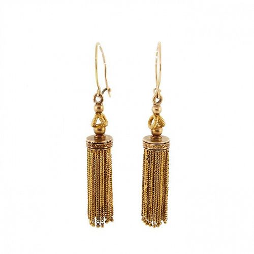 Victorian 14K Gold & Enamel Tassel Earrings