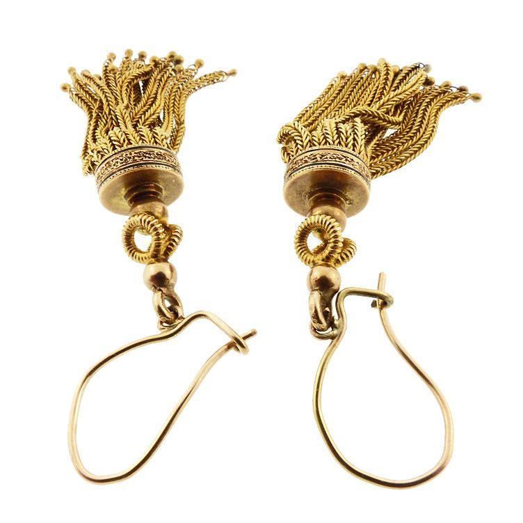 Victorian 14K Gold & Enamel Tassel Earrings