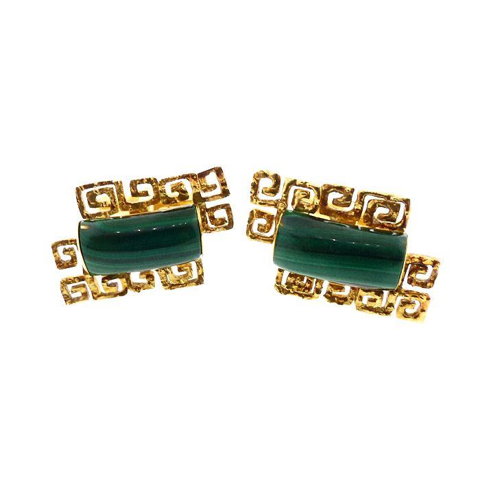 Mid-Century Modern 14K Gold & Malachite Cufflinks