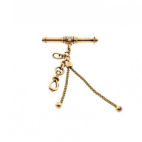 Victorian 18K Gold Pearl & Enamel Watch Key & Fob Pendant