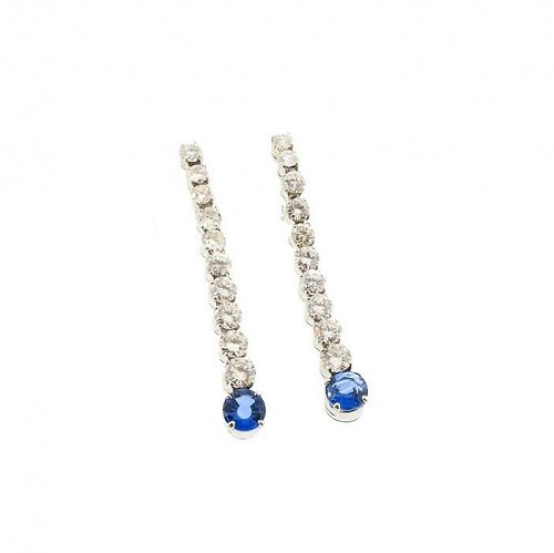 Art Deco Style Platinum Diamond Sapphire Earrings