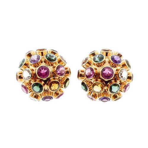 H Stern Sputnik 18K Gold & Multicolored Gemstone Earrings