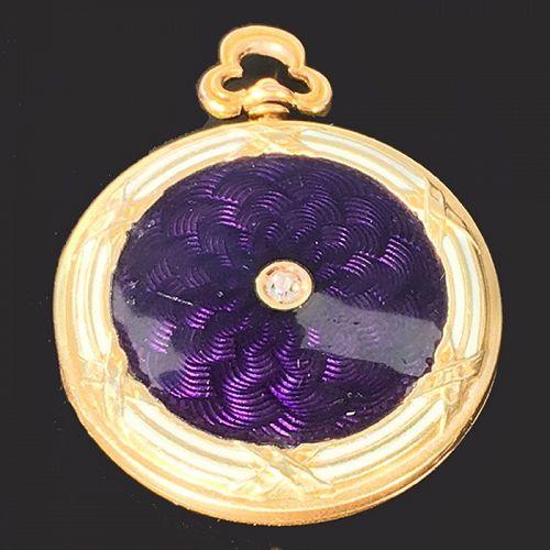 Edwardian 14K Gold Diamond & Purple Guilloche Enamel Locket