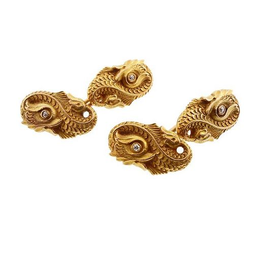 Carrington Art Nouveau 14K Gold Sea Monster Dolphin Cufflinks