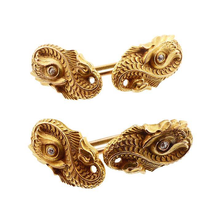 Carrington Art Nouveau 14K Gold Sea Monster Dolphin Cufflinks