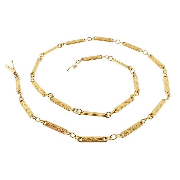 "Edwardian 14K Gold Fancy Bar Link 16-1/2"" Chain"