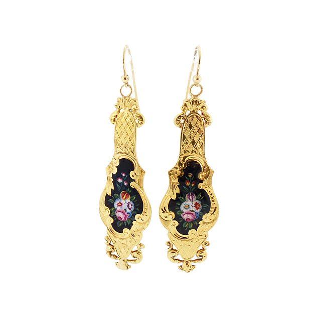French Victorian 18K Gold & Shaded Enamel Earrings