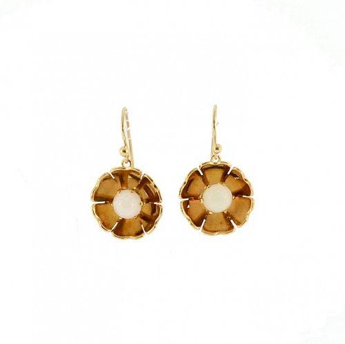 Retro 14K Gold & Opal Dangle Earrings