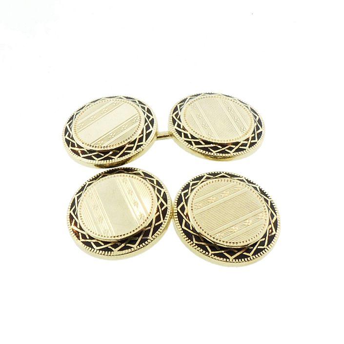 Art Deco 14K Gold & Black Enamel Engine-Turned Cufflinks