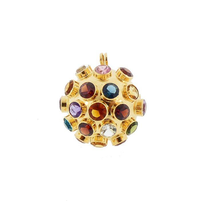 H Stern Sputnik 18K Gold & Multicolored Gemstone Pendant / Brooch