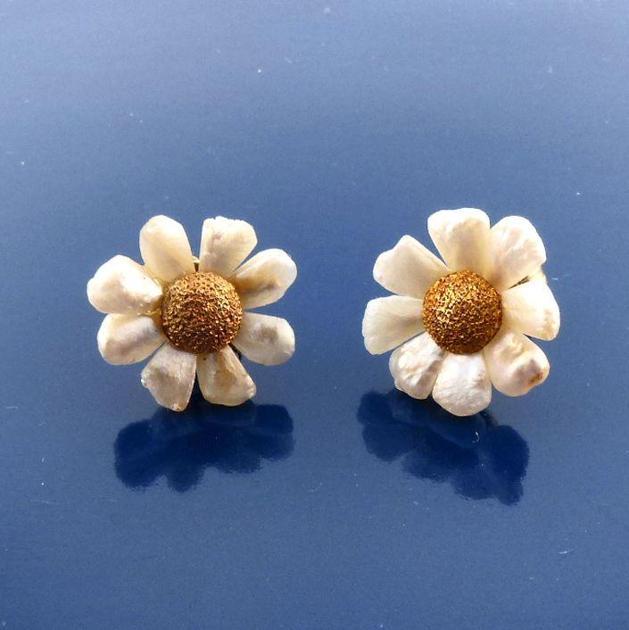 Art Nouveau 14K Gold, River Pearl & Diamond Stud Earrings