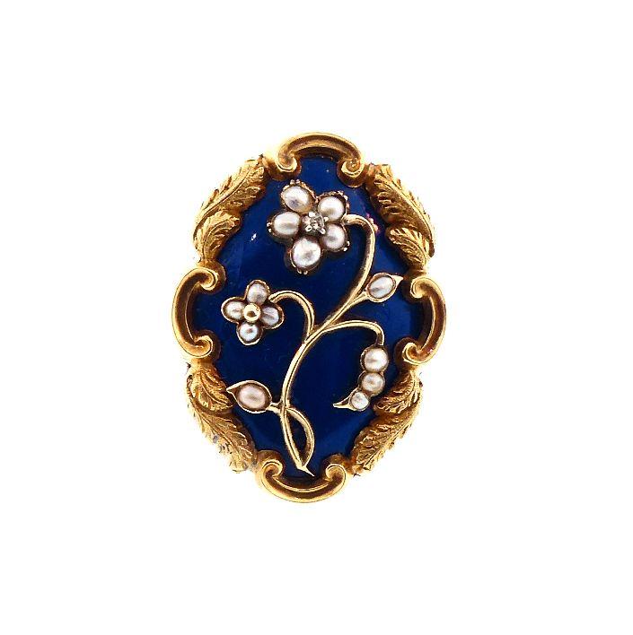 Georgian 18K Gold, Enamel, Seed Pearl & Diamond Pansy Ring