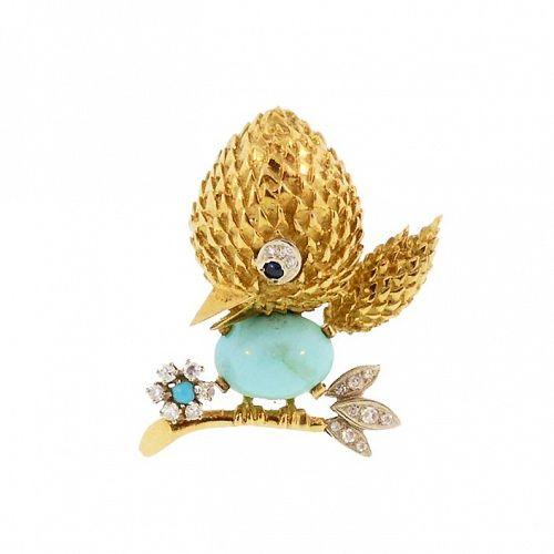 Mid-Century 18K Gold, Diamond, Sapphire & Turquoise Bird Brooch