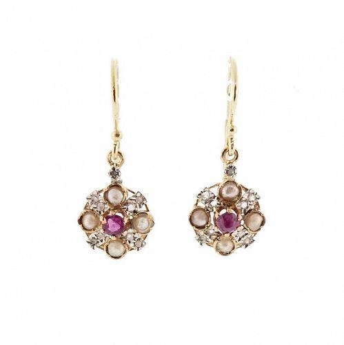 18K Gold, Platinum, Ruby, Rosecut Diamond & Pearl Drop Earrings
