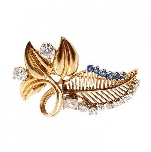 Retro 14K Gold, Platinum, Diamond & Sapphire Leaf Brooch