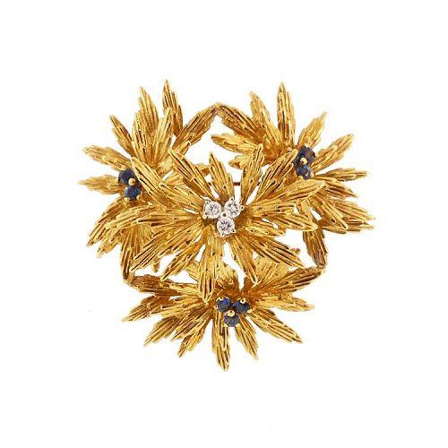 Tiffany 18K Gold, Diamond & Sapphire Vintage Floral Brooch