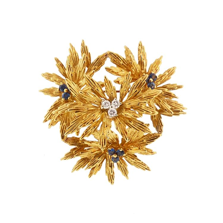Tiffany 18K Gold, Diamond & Sapphire Vintage Floral Brooch