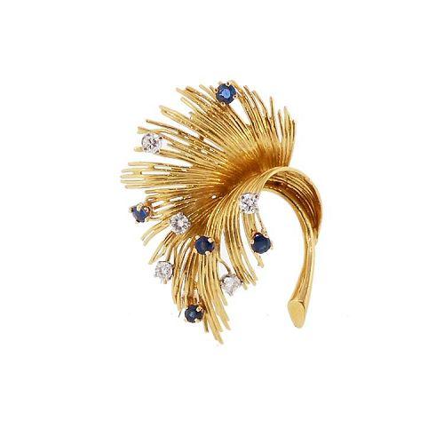 Tiffany 18K Gold, Diamond & Sapphire Vintage Leaf Pin