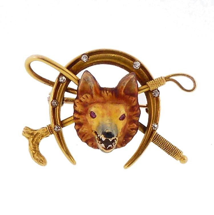 Alling 14K Gold Enamel Diamond Ruby Fox Hunting Brooch